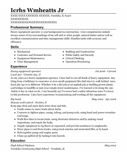 Heavy Equipment Operator resume sample Illinois