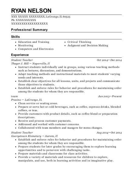 Student Teacher resume template Illinois