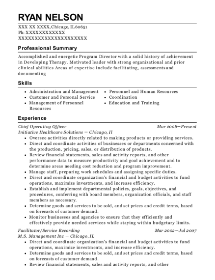 Chief Operating Officer resume example Illinois