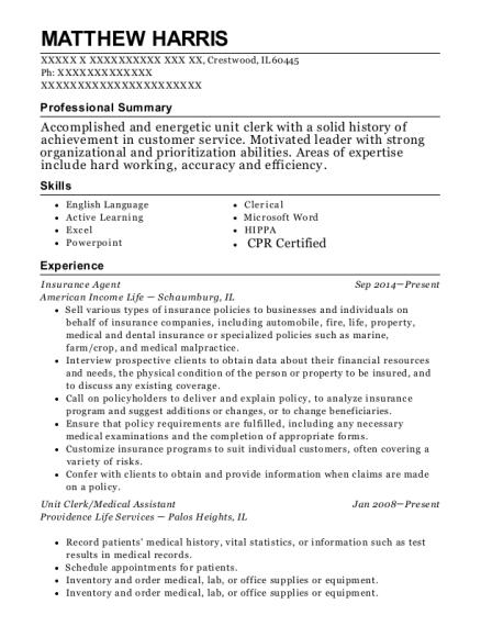 Insurance Agent resume format Illinois