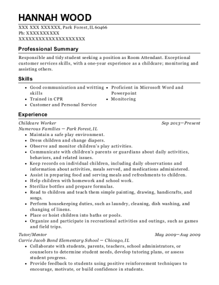Childcare Worker resume template Illinois