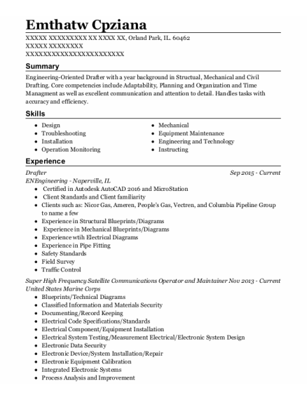 Drafter resume example Illinois