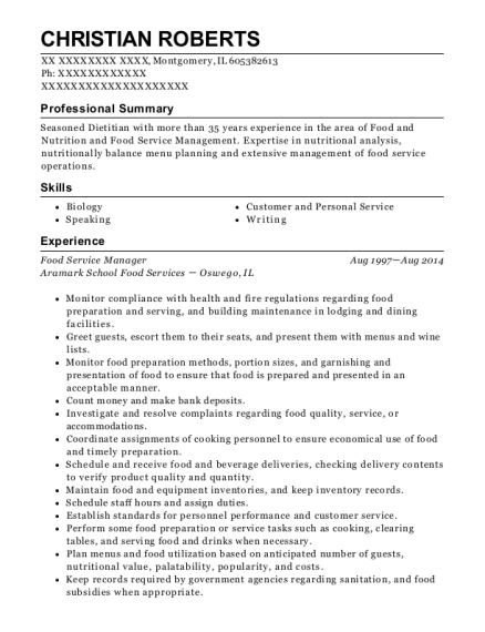 Food Service Manager resume format Illinois
