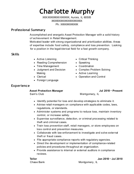 Asset Protection Manager resume format Illinois