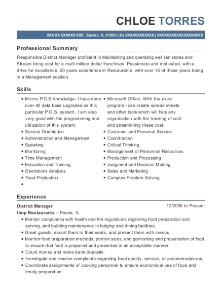 District Manager resume sample Illinois