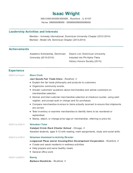 Store Clerk resume template Illinois