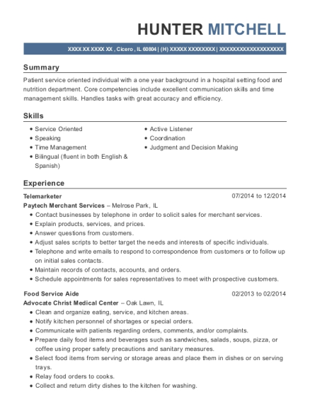 Telemarketer resume format Illinois