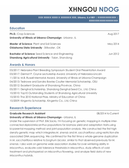 Graduate Research Assistant resume template Illinois