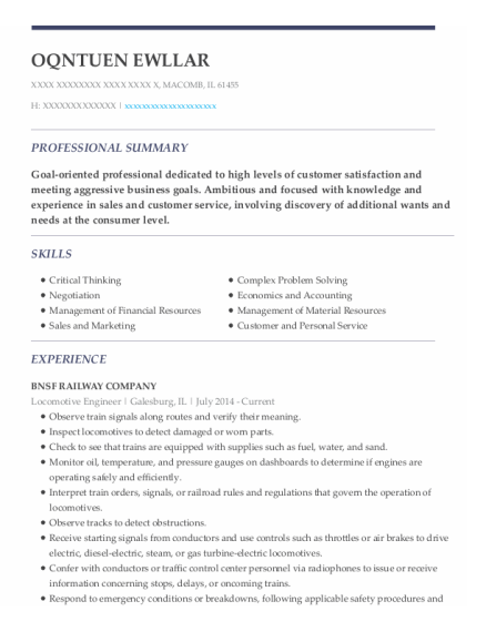 Locomotive Engineer resume sample Illinois