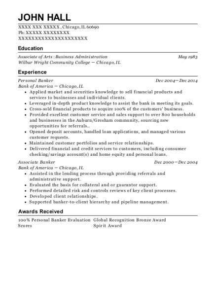 Personal Banker resume template Illinois