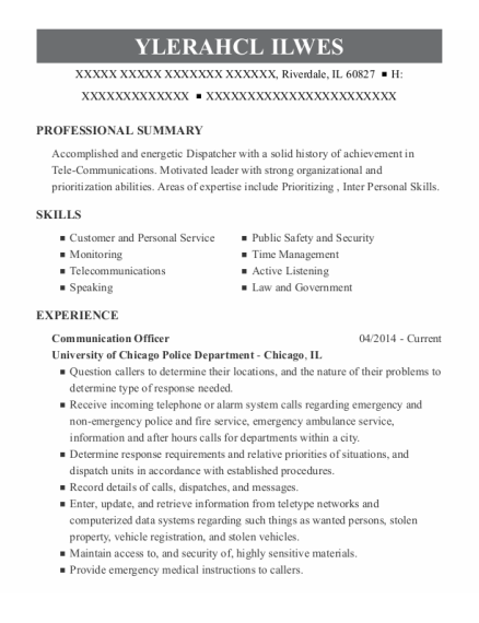 Communications Officer resume template Illinois