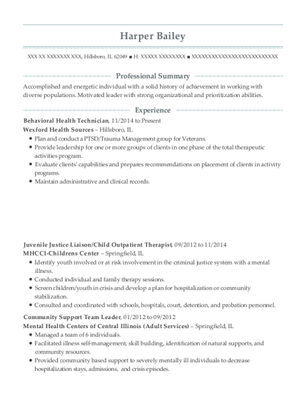 Banner Health Services Behavioral Health Technician Resume
