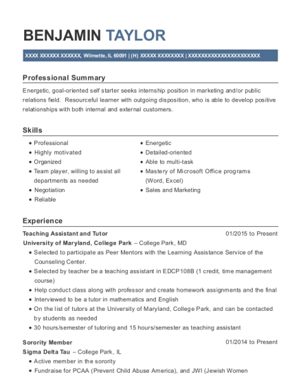 Teaching Assistant and Tutor resume example Illinois