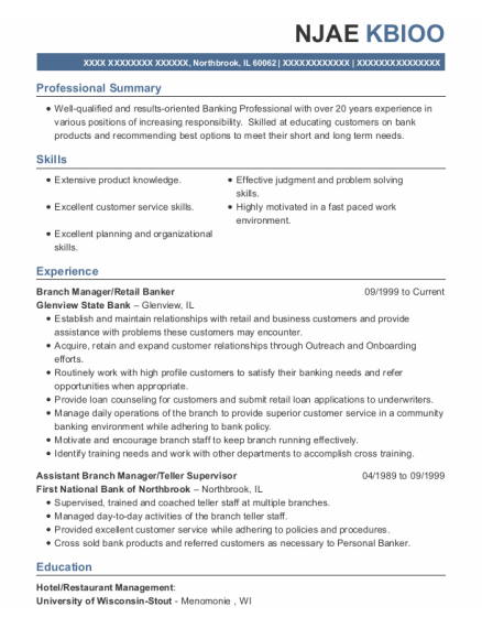 Branch Manager resume sample Illinois