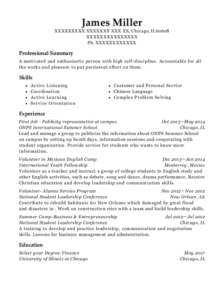 First Job Publicity representative at campus resume format Illinois