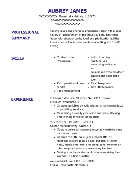 Production Workers resume template Illinois