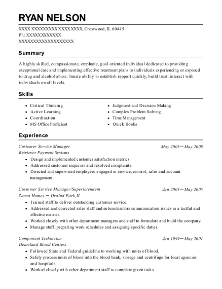 Customer Service Manager resume template Illinois