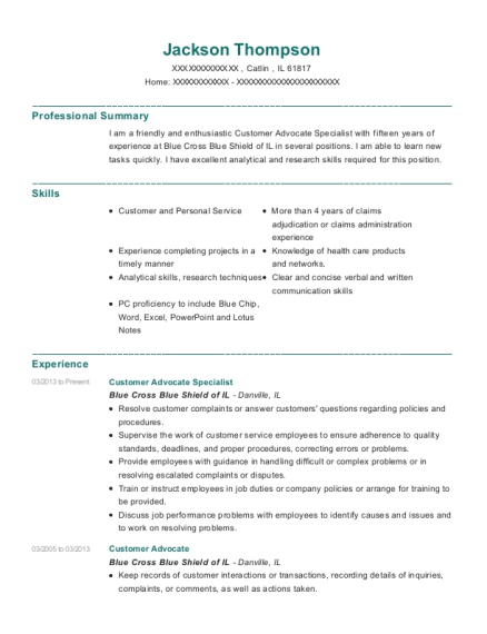 Customer Advocate Specialist resume format Illinois