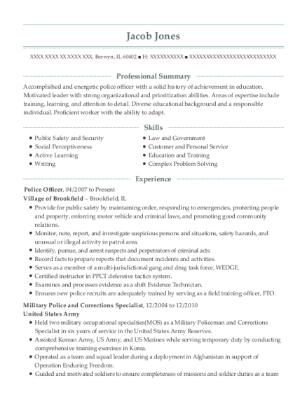 Police Officer resume format Illinois