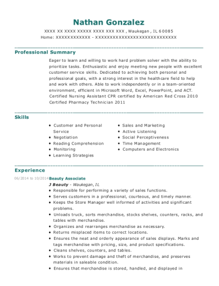 Beauty Associate resume sample Illinois