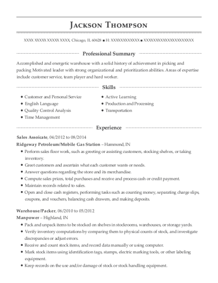 Sales Assoicate resume example Illinois