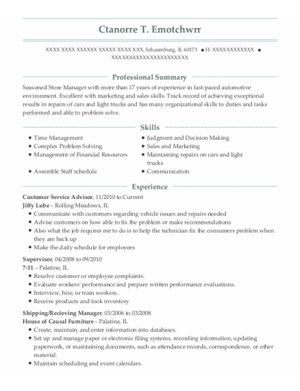 Customer Service Advisor resume sample Illinois