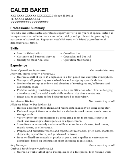 Marriott International Event Operations Supervisor Resume Sample