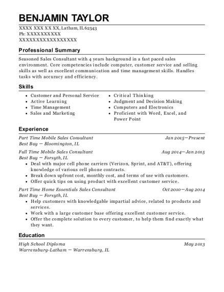 Part Time Mobile Sales Consultant resume example Illinois