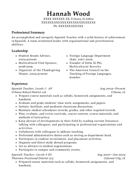 20 Best Spanish Teacher Resumes Resumehelp