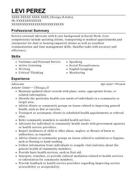 Advocate resume example Illinois
