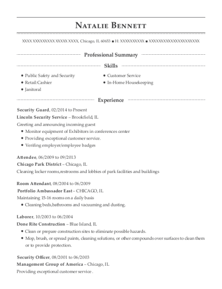 Security Guard resume example Illinois