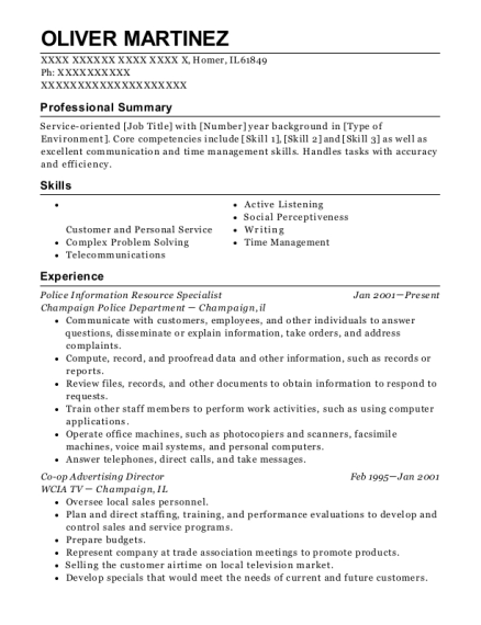 Police Information Resource Specialist resume format Illinois