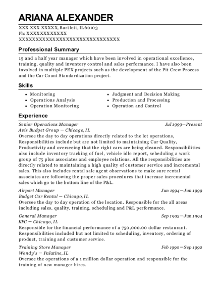 Senior Operations Manager resume template Illinois