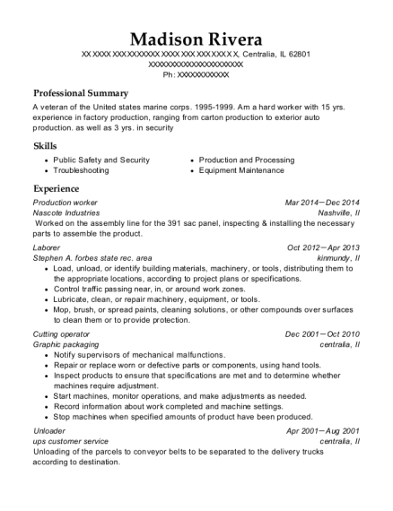 Production Worker resume template Illinois