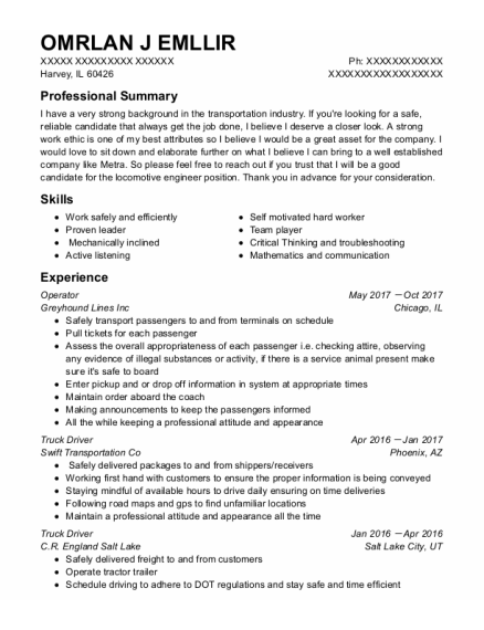 Operator resume example Illinois