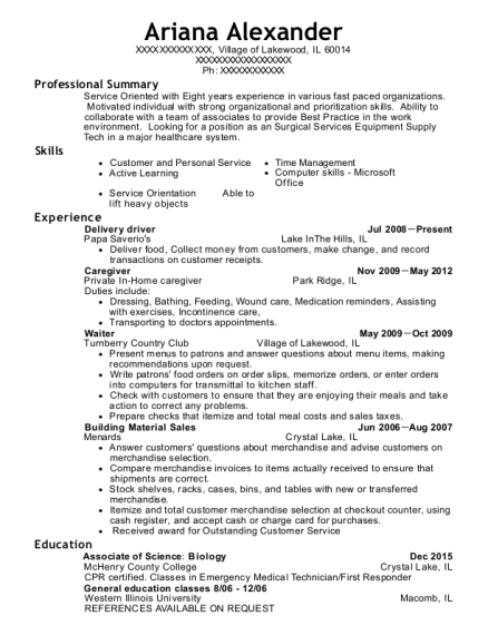 Delivery driver resume format Illinois