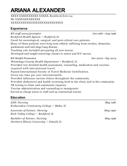 RN staff nurse resume format Illinois