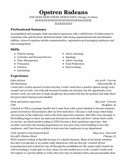 Sales Advisor resume format Illinois