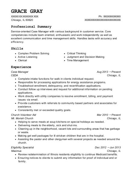 Case Manager resume example Illinois
