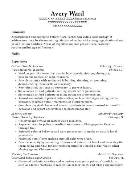 Patient Care Technician resume template Illinois
