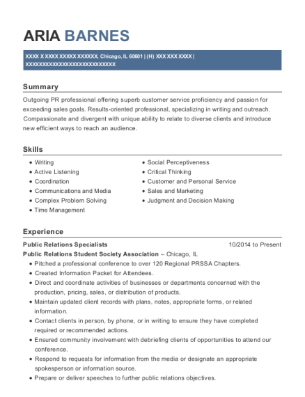 Public Relations Specialists resume template Illinois