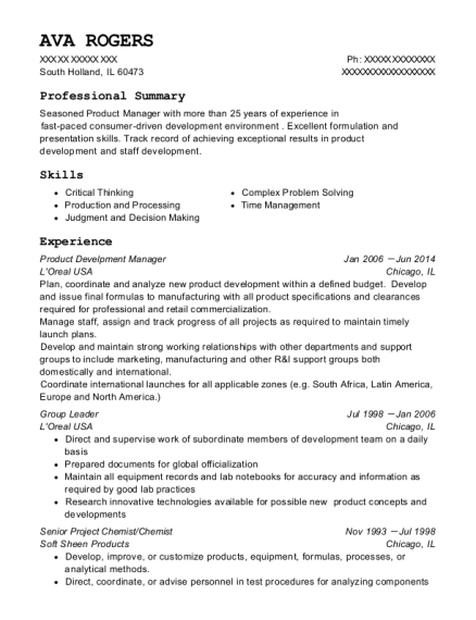 Product Develpment Manager resume format Illinois