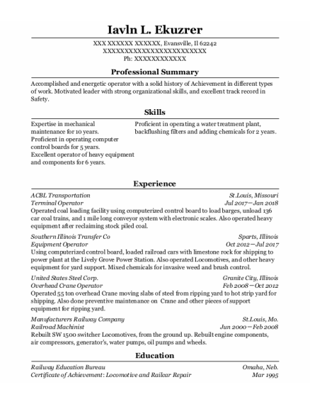 Terminal Operator resume template Illinois