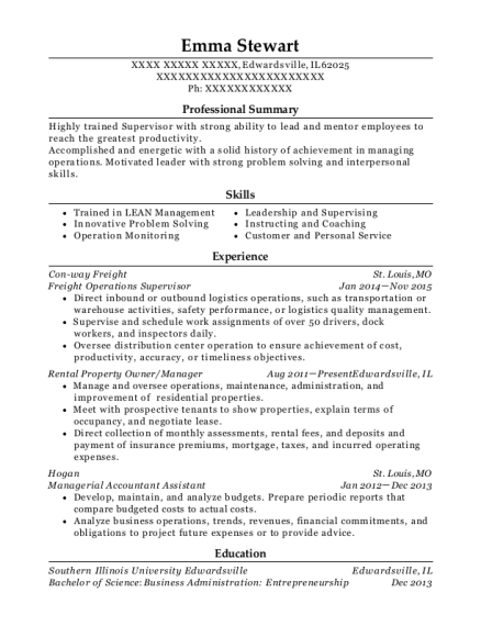Freight Operations Supervisor resume example Illinois