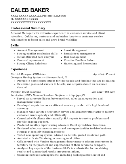 District Manager COD Sales resume sample Illinois