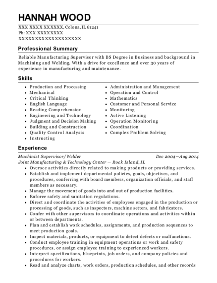 Machinist Supervisor resume example Illinois