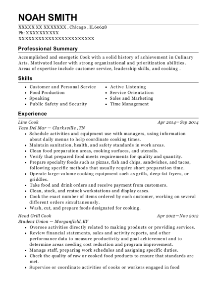 Line Cook resume template Illinois