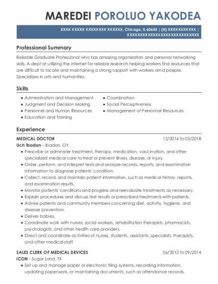 Medical Doctor resume template Illinois