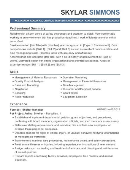 Founder resume template Illinois