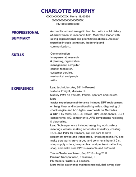 Lead technician resume template Illinois